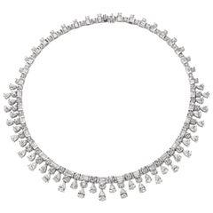 36.28 Carat Diamond Fringe Necklace in Platinum