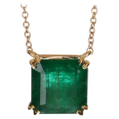 4.18ct 14K Emerald Solitaire Necklace, Emerald Cut Gold Necklace