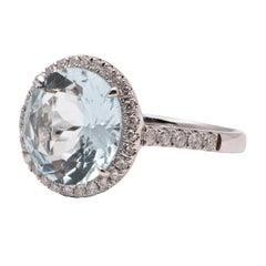 4.19 Carat Aquamarine and Diamond Ring in 18 Carat White Gold