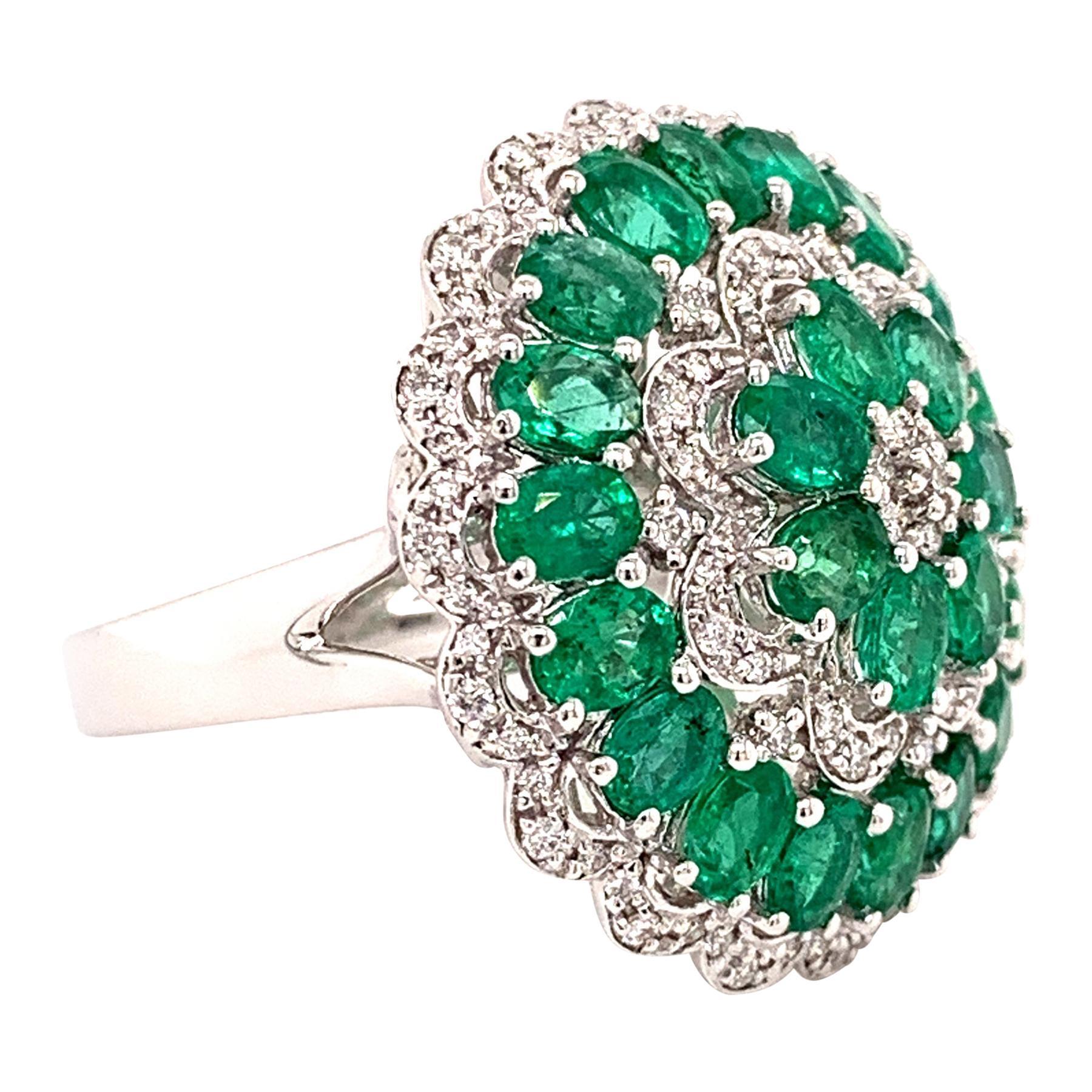 4.19 Carat Emerald Diamond Cocktail Ring