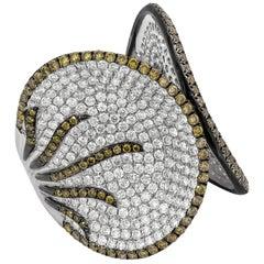 4.19 Carat Fancy Color Diamond Wide Fashion Ring