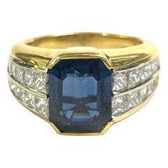 4.19 Carat Sapphire and Princess Cut Statement Ring