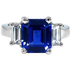 4.19ctw Ceylon GIA Natural Royal Blue Sapphire and Diamond Platinum 3-Stone Ring