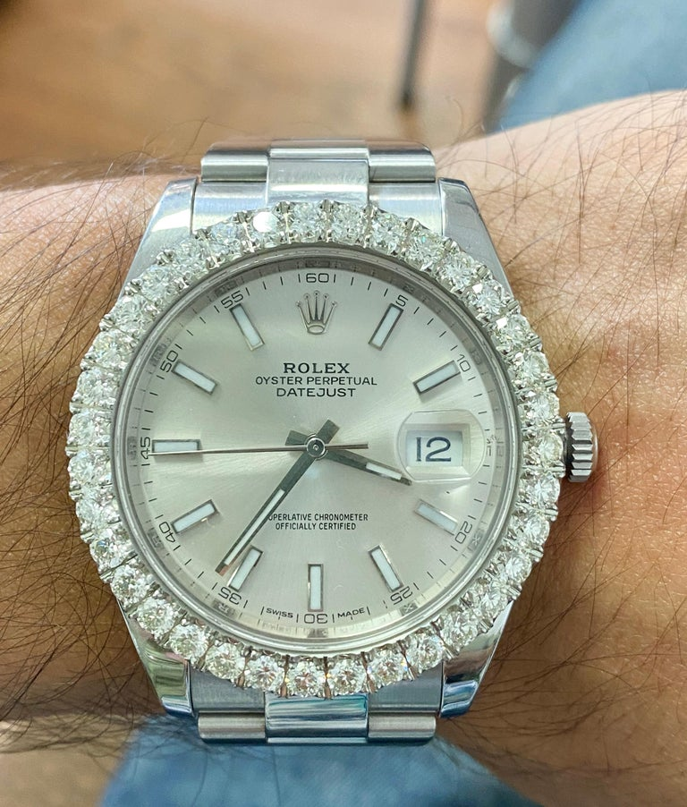 Rolex Diamond Bezel Stainless Steel In New Condition For Sale In Miami, FL