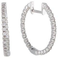 .42 Carat 14 Karat White Gold Full Diamond Pave Hoop Earrings