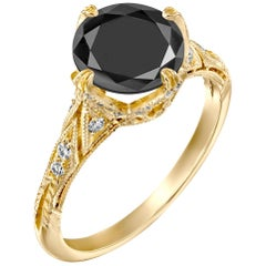 4.2 Carat 14 Karat Yellow Gold Certified Round Black Diamond Engagement Ring