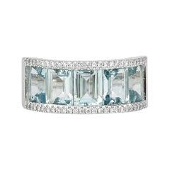 4.2 Carat Aquamarine and Diamond Ring in 18 Karat White Gold