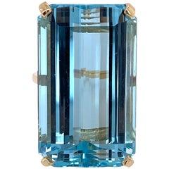 42 Carat Aquamarine Emerald Cut Gemstone Yellow Gold Cocktail Ring