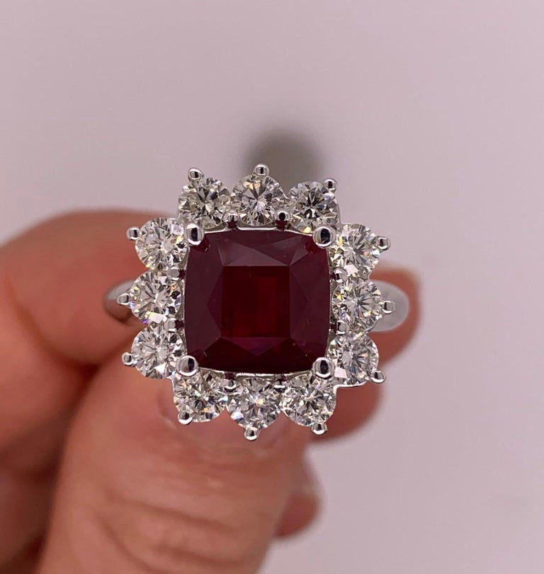 Cushion Cut 4.2 Carat Cushion Ruby and Round Diamond Halo Engagement Ring 18K White Gold For Sale
