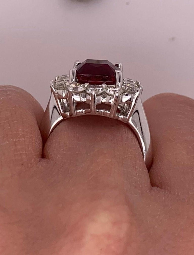 4.2 Carat Cushion Ruby and Round Diamond Halo Engagement Ring 18K White Gold For Sale 2