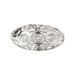 .42 Carat Diamond White Gold Art Deco Dome Engagement Ring