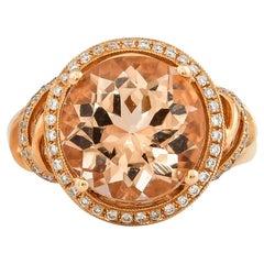 4.2 Carat Morganite and Diamond Ring in 18 Karat Rose Gold
