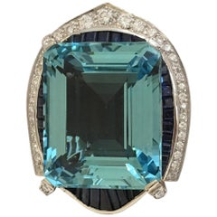 42 Carat Natural Aquamarine Sapphire and Diamond Ring