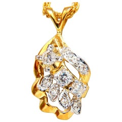 .42 Carat Natural Diamonds Cluster Necklace 14 Karat Yellow Gold