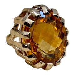 42 Carat Natural Oval Citrine Cocktail Ring in 14 Karat Yellow Gold, Estate