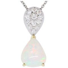 4.2 Carat Opal and White Diamond Two-Tone Pendant