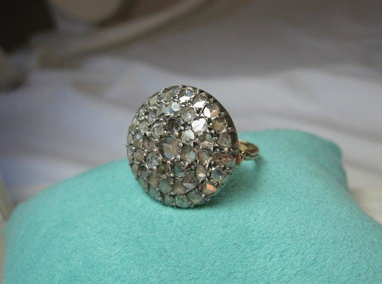 4.2 Carat Rose Cut Diamond Ring Gold Antique Victorian Florentine Bombe For Sale 7