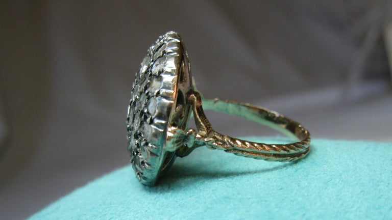 4.2 Carat Rose Cut Diamond Ring Gold Antique Victorian Florentine Bombe For Sale 8