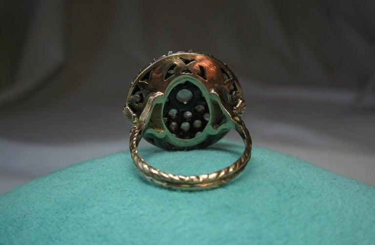 4.2 Carat Rose Cut Diamond Ring Gold Antique Victorian Florentine Bombe For Sale 9