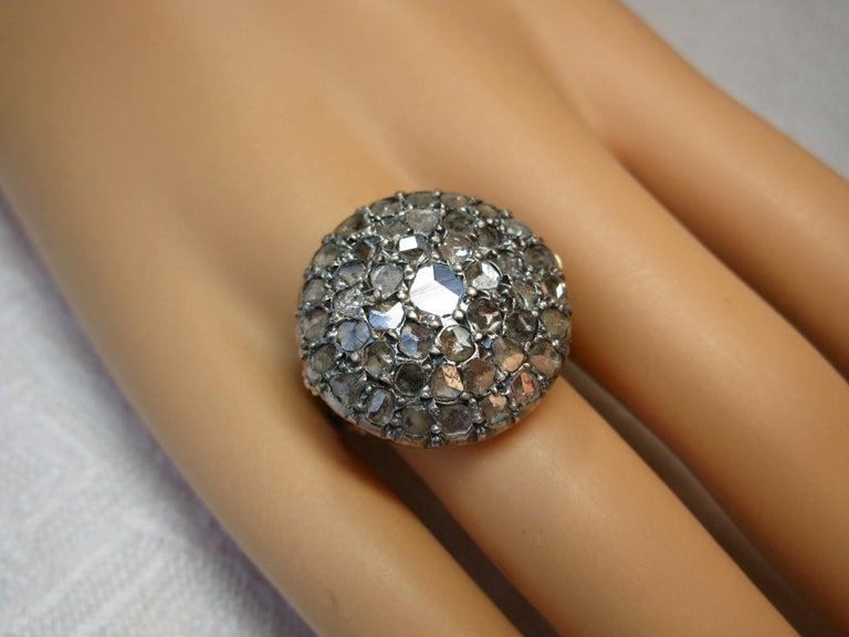 4.2 Carat Rose Cut Diamond Ring Gold Antique Victorian Florentine Bombe For Sale 1