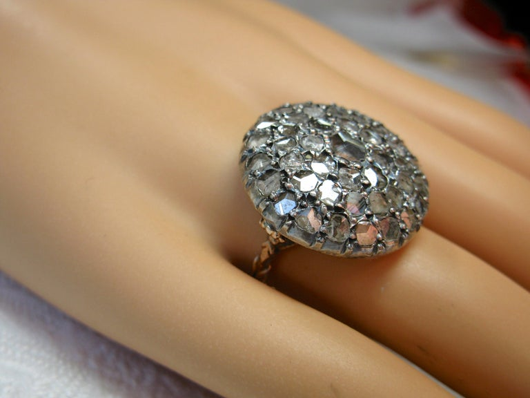 4.2 Carat Rose Cut Diamond Ring Gold Antique Victorian Florentine Bombe For Sale 3