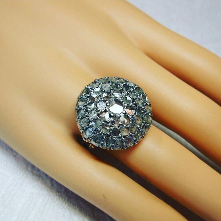 4.2 Carat Rose Cut Diamond Ring Gold Antique Victorian Florentine Bombe For Sale 4