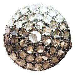 4.2 Carat Rose Cut Diamond Ring Gold Antique Victorian Florentine Bombe