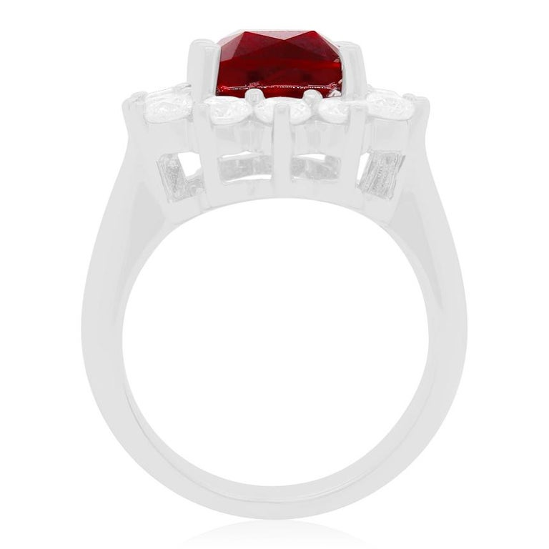 Contemporary 4.2 Carat Cushion Ruby and Round Diamond Halo Engagement Ring 18K White Gold For Sale
