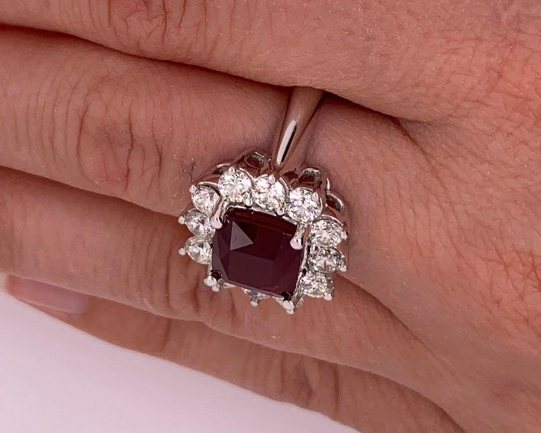 Women's 4.2 Carat Cushion Ruby and Round Diamond Halo Engagement Ring 18K White Gold For Sale