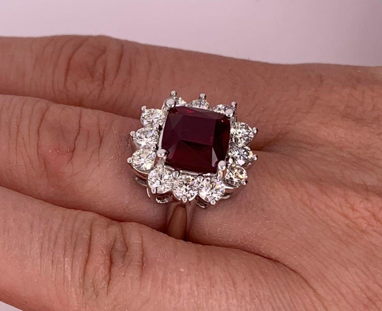 4.2 Carat Cushion Ruby and Round Diamond Halo Engagement Ring 18K White Gold For Sale 1