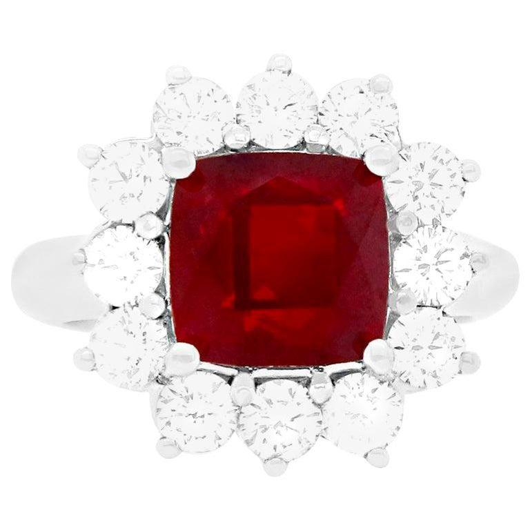 4.2 Carat Cushion Ruby and Round Diamond Halo Engagement Ring 18K White Gold For Sale