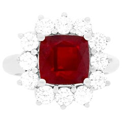 4.2 Carat Ruby and Diamond Engagement Ring