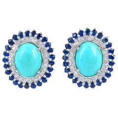 4.2 Carat Turquoise Diamond Sapphire Stud Earrings