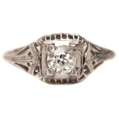 .42 Carat VVS Old European Cut Diamond Art Deco Style Filigree Bow, circa 1940