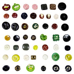 42 Ceramic Buttons Possibly Jean Clément for Elsa Schiaparelli Circa 1930/1940