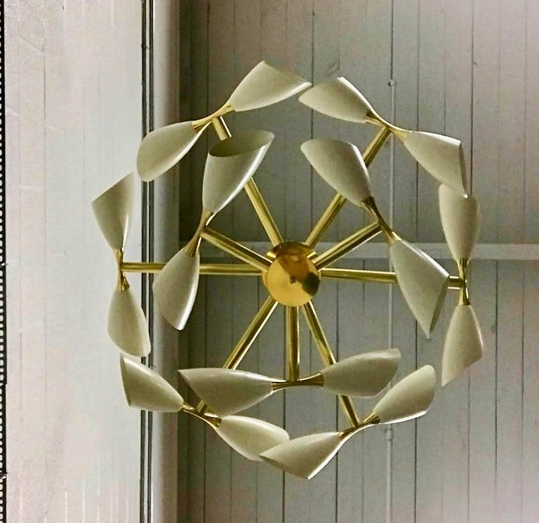 Mid-Century Modern Cream Cone and Brass Italian Midcentury Studio Made Eighteen-Light Chandelier For Sale