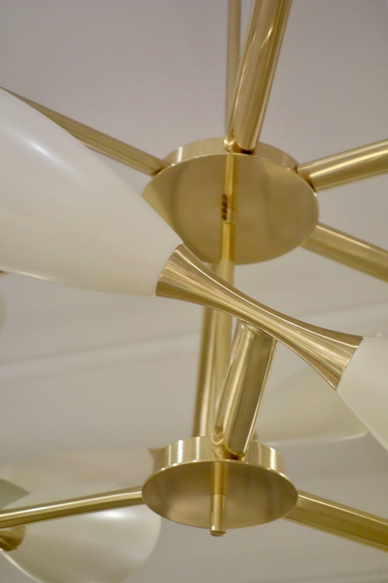Contemporary Cream Cone and Brass Italian Midcentury Studio Made Eighteen-Light Chandelier For Sale