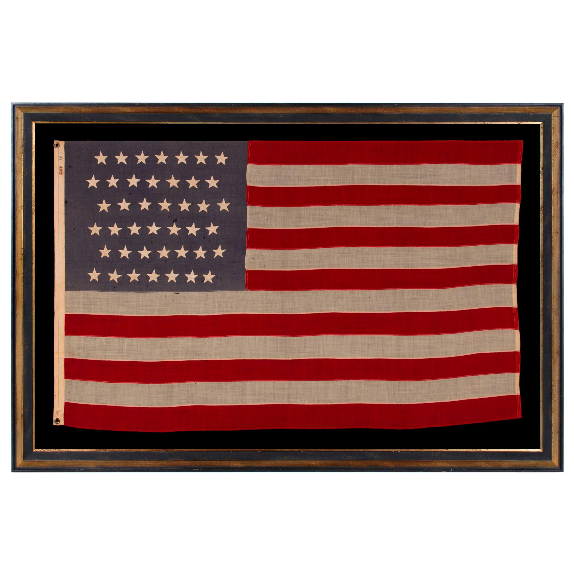 42 Hand-Sewn Stars on An Antique Washington State American Flag, ca 1889-1890