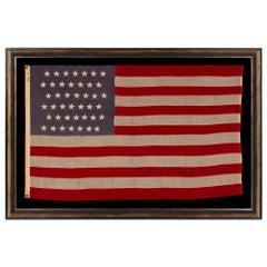 42 Hand-Sewn Stars on An Antique Washington State American Flag, ca 1889-1890