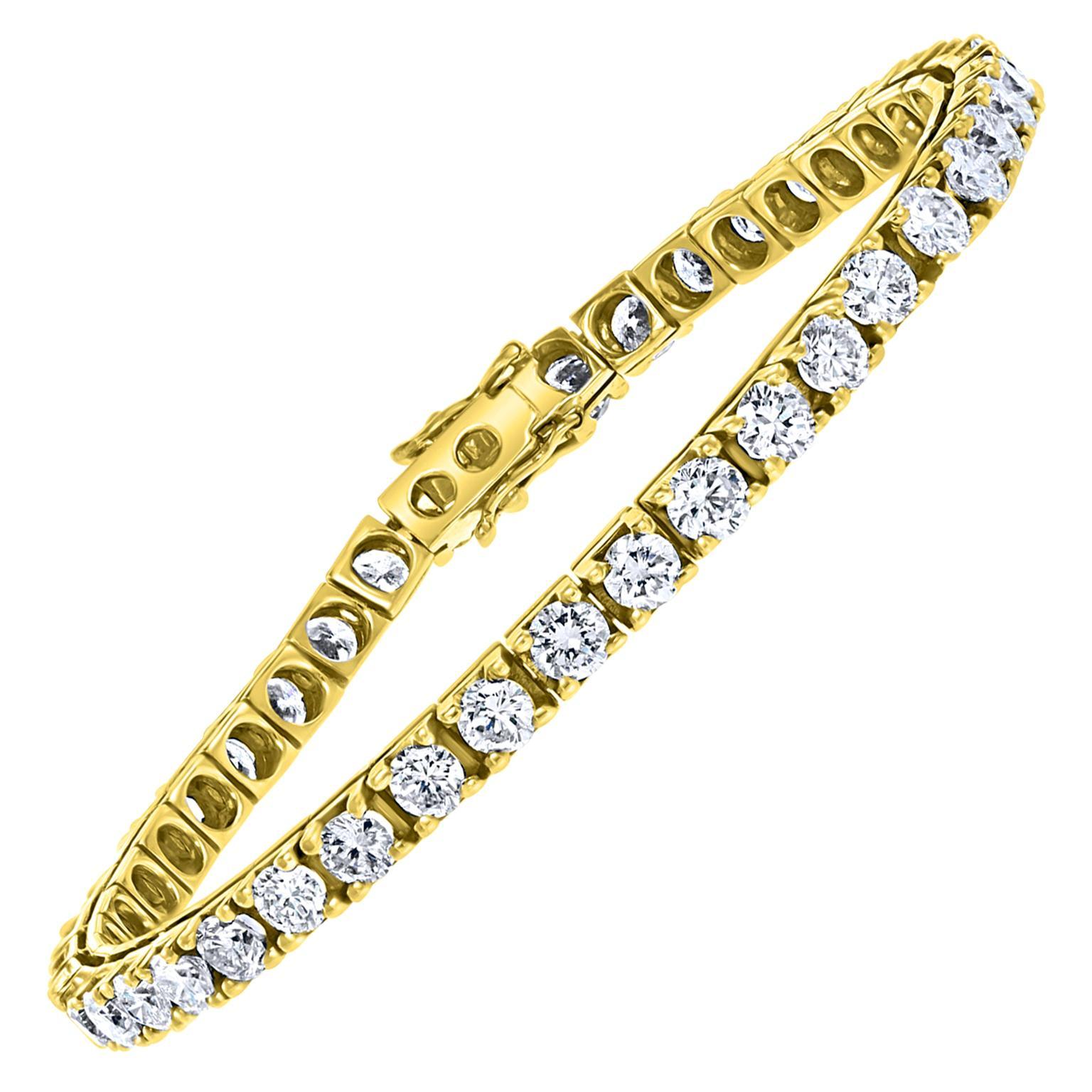 42 Round Diamond 25 Pointer Each Line Tennis Bracelet 14 Karat Gold 10 Carat