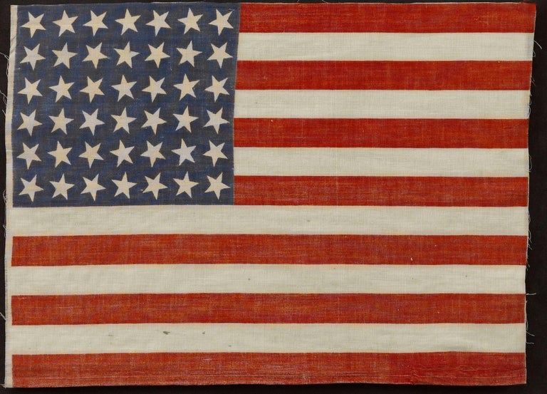 42-Star American Flag, Antique Whimsical Star Pattern, circa 1889 In Good Condition For Sale In Colorado Springs, CO