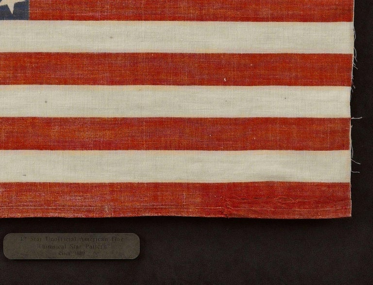 Late 19th Century 42-Star American Flag, Antique Whimsical Star Pattern, circa 1889 For Sale