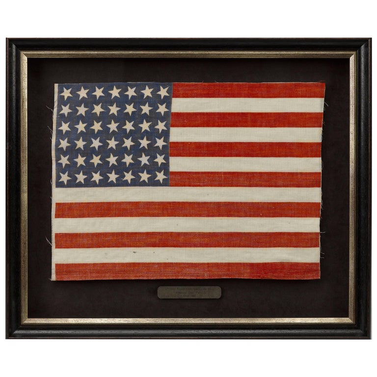 42-Star American Flag, Antique Whimsical Star Pattern, circa 1889 For Sale