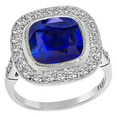 4.20 Carat Ceylon Sapphire 0.70 Carat Diamond Engagement Ring