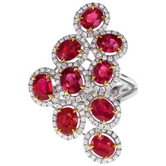 4.20 Carat Crescent Red Ruby and Diamond Designer Ring