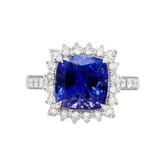 4.20 Carat Cushion Tanzanite and Diamond 18 Carat White Gold Ring