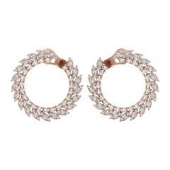 4.20 Carat Diamond 14 Karat Gold Hoop Earrings