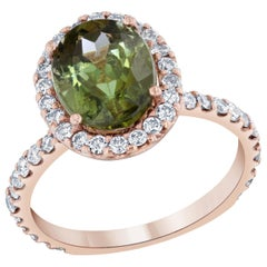 4.20 Carat Green Tourmaline and Diamond 14 Karat Rose Gold Ring