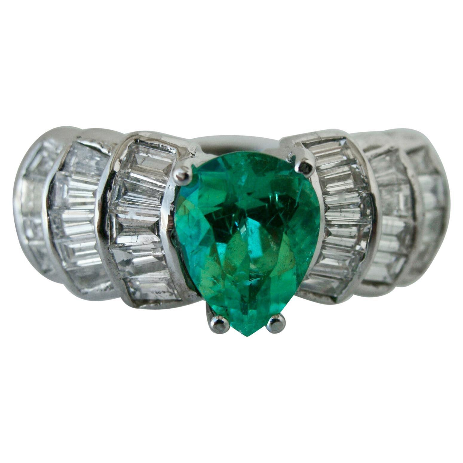 4.20 Carat Natural Colombian Emerald Diamond Estate Ring 14 Karat