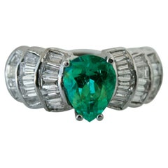 4.20 Carat Natural Colombian Emerald Diamond Estate Ring 14 Karat
